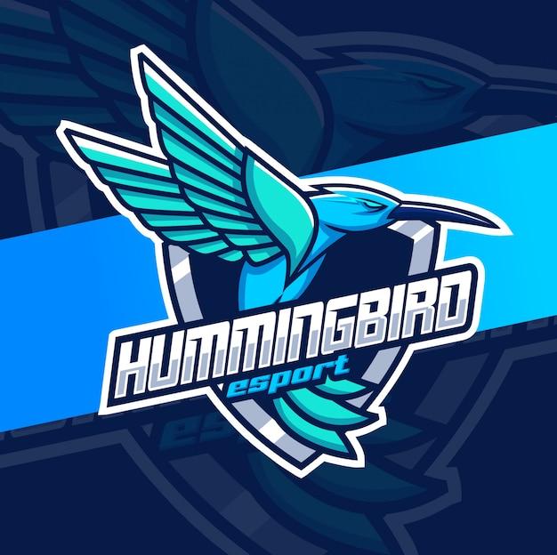 Zoemende vogel mascotte esport logo ontwerp