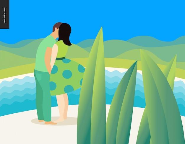 Zoenende scène - vlakke beeldverhaal vectorillustratie van jong paar, vriend en meisje, die op strand, romantische scène kussen