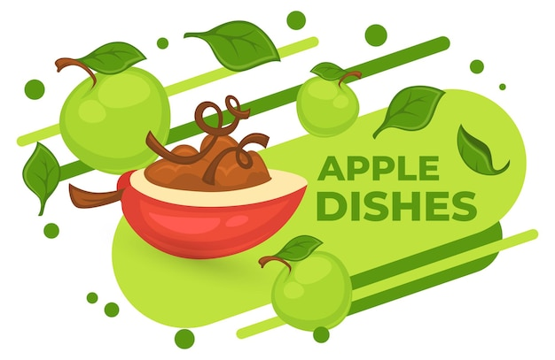 Zoet dessert gemaakt van verse appel en jam. lekker eten en maaltijd op bestelling. natuurlijke en biologische maaltijd geserveerd in fruit. café- of restaurantmenu, reclamebanner of poster. vector in vlakke stijl
