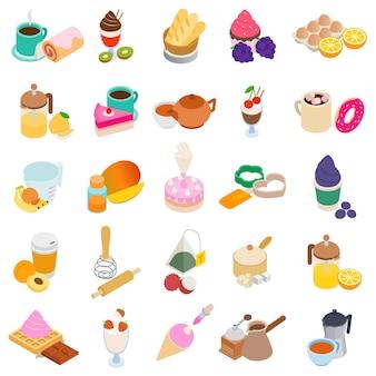 Zoet dessert icon set