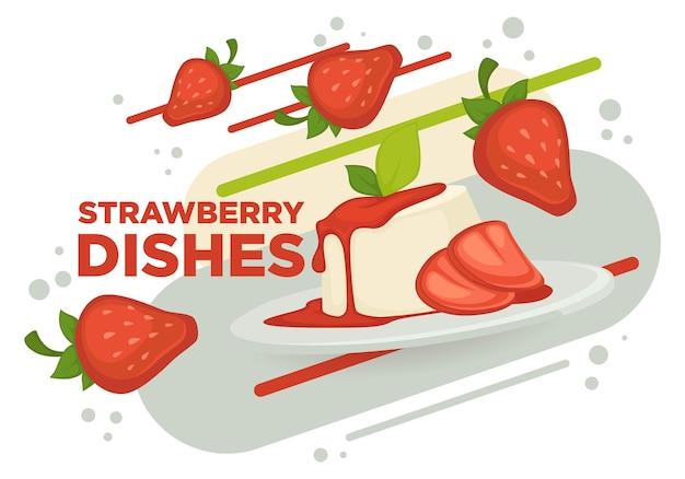 Zoet dessert met aardbeien en jam, ijs of cake versierd met muntblad. combinatie van voedzame ingrediënten. café- of restaurantmenu, reclamebanner of poster. vector in vlakke stijl
