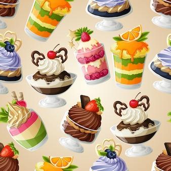 Zoet dessert naadloos patroon