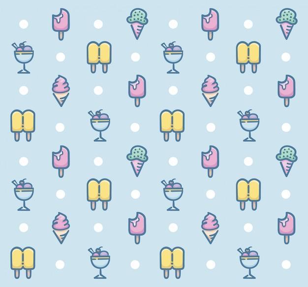 Zoet dessert naadloos patroonontwerp