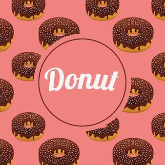 Zoet donuts naadloos patroon met cirkelkader