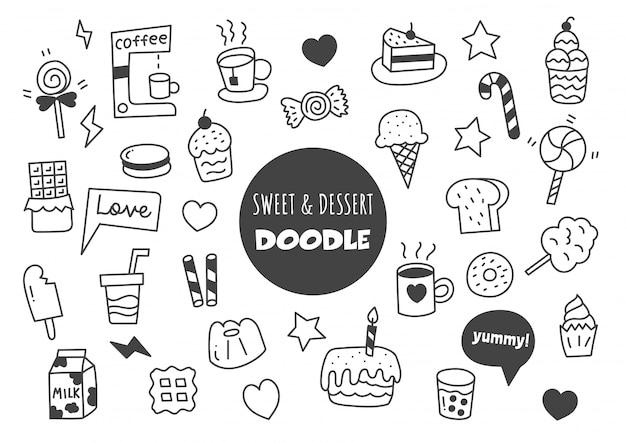 Zoet en dessert kawaii doodle
