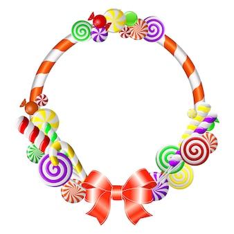 Zoet frame met kleurrijke snoepjes