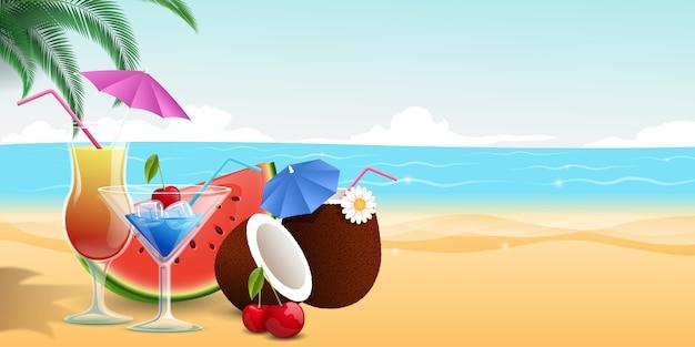 Zoet fruitdesserts, watermeloenplak en kersen