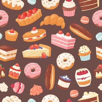 Zoet gebak naadloos patroon. illustratie van cakes, bakkerij en gebak. de achtergrond van het gebakjedessert met zoete cake, vanilleroom cupcake, karamelmuffin, chocolade en doughnut.