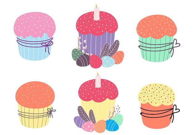 Zoet gebak, taarten en cupcakes. vectorillustratie