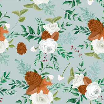 Zoet herfst bloemen naadloos patroonontwerp met roos en dennenbloem