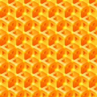 Zoet honeycomb 3d-tegelspatroon. naadloze vector achtergrond