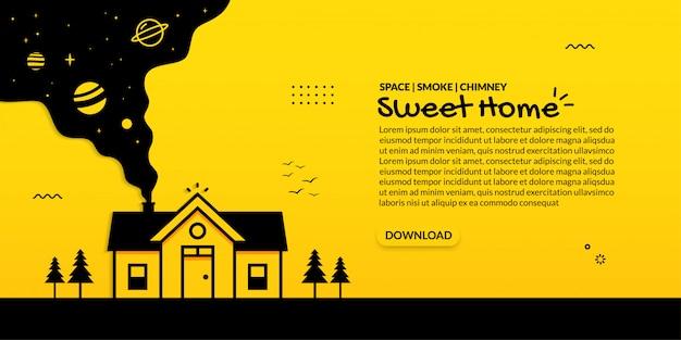 Zoet huis met ruimte binnen rook van schoorsteen op gele achtergrond