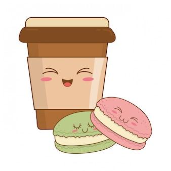 Zoet koekje met kawaiikarakters van het koffiegebakje Premium Vector