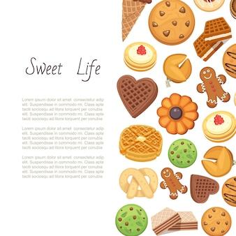 Zoet leven met koekjes backgrund van verschillende chocolade en biscuit chip cookies, peperkoek en wafel, illustratie.