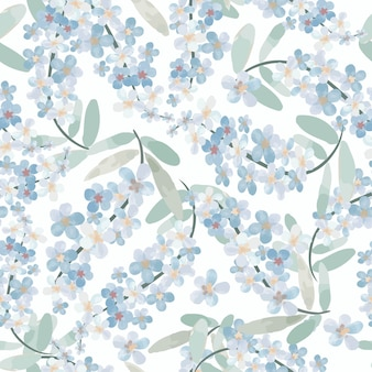 Zoet lichtblauw bloesem naadloos patroon.