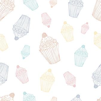 Zoet naadloos patroon met cupcake.