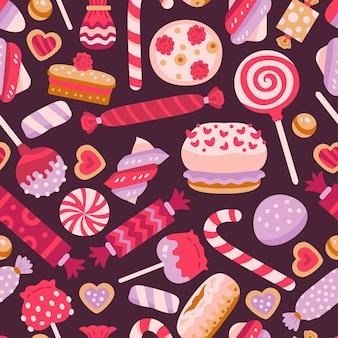 Zoet naadloos patroon met verschillende cupcakes en snoep