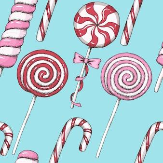 Zoet patroon met hand getrokken rode en roze lollys. naadloze achtergrond