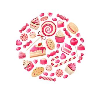 Zoet snoep. chocoladerepen, bonbon van lolly en gekonfijt fruit met jam, kinderdesserts met karamelsnoepjes