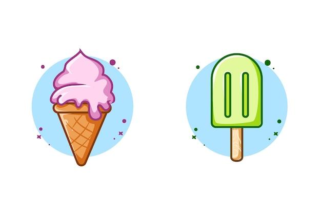 Zoet vloeibaar ijs en ijssticks ontwerpen cartoonillustratie