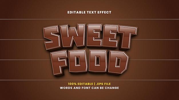 Zoet voedsel bewerkbaar teksteffect in moderne 3d-stijl