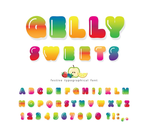 Zoete 3d gelly lettertype. cute cartoon alfabet