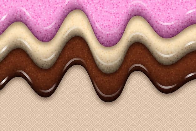Zoete aardbeienjam-ijsjes met wafeltje