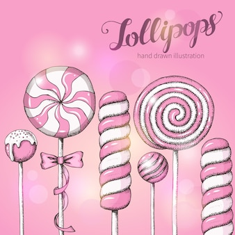 Zoete achtergrond met lollys op roze. snoepwinkel. handgeschreven letters.
