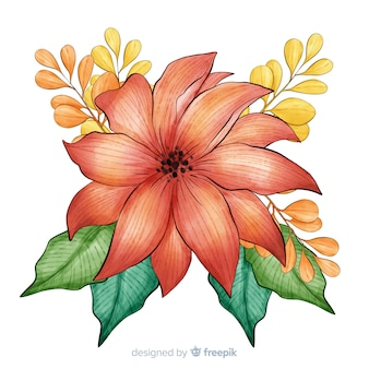 Zoete aquarel koraal bloem