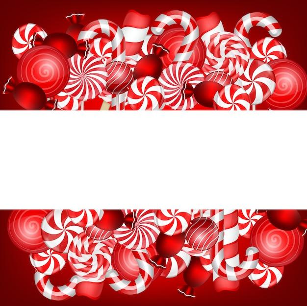 Zoete banner met lolly en suikergoedriet