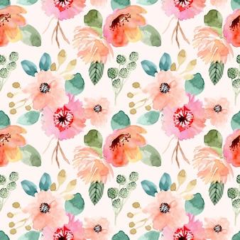 Zoete bloem aquarel naadloze patroon