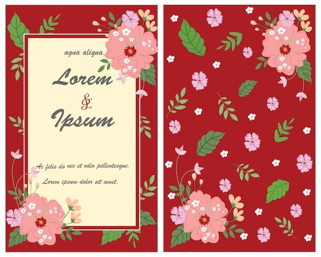 Zoete bloem op rode huwelijkskaart.
