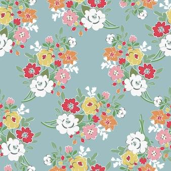 Zoete bloemboeket naadloze patroon.