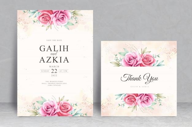 Zoete bloemen bruiloft uitnodigingskaart