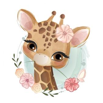 Zoete bloemrijke giraf