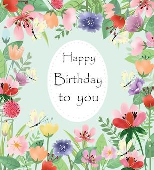 Zoete bloesem en blad verjaardagskaart.