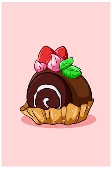 Zoete broodjes met aardbeien en muntblaadjes cartoon afbeelding