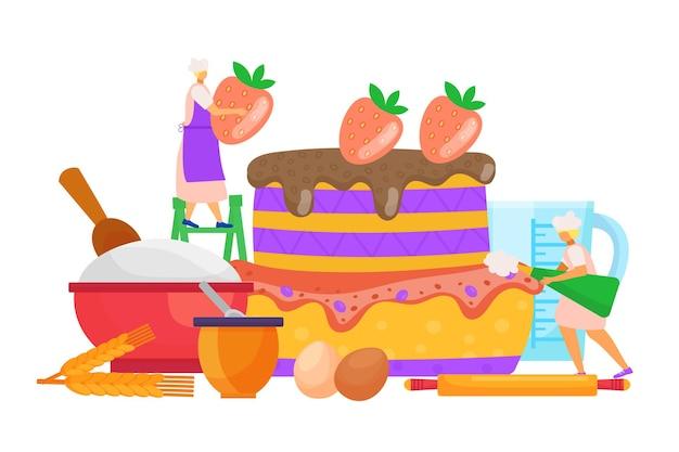 Zoete cake koken vector illustratie kleine vrouw mensen karakter maken dessert bakkerij gebak met s...