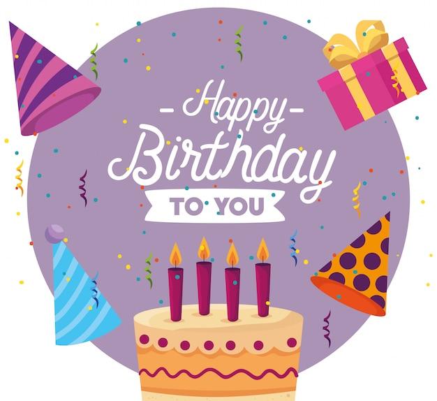 Zoete cake met kaarsen en huidige geschenken
