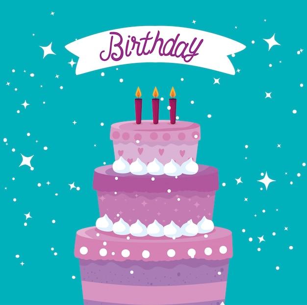 Zoete cake met kaarsen en lint tot gelukkige verjaardag