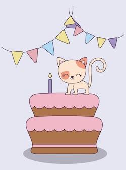 Zoete cake met schattige kat en slingers