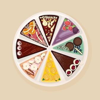 Zoete cake of taart verdeeld in acht delen met verschillende smaken en toppings.
