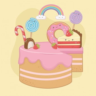 Zoete cake van aardbeiencrème met kawaiikarakters