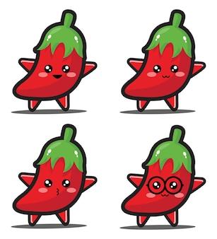 Zoete cartoon chili kawaii design premium