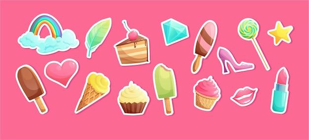Zoete cartoon snoepjes en meisjesachtige elementen ijs lippenstift cupcake lippen hart kristal lollipop regenboog stickers
