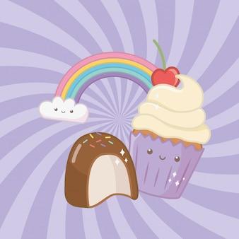 Zoete cupcake en snoepjes kawaii tekens