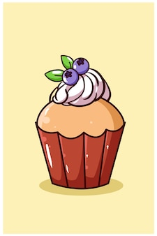 Zoete cupcake met bosbessen cartoon afbeelding