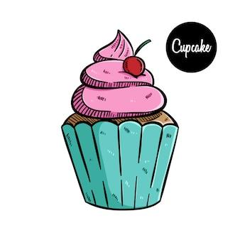Zoete cupcakeillustratie met gekleurd hand getrokken art