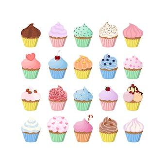 Zoete cupcakes bezet met decoratie en vullingen.