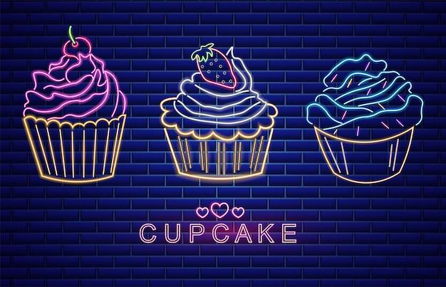 Zoete cupcakes geplaatst neon symbolen